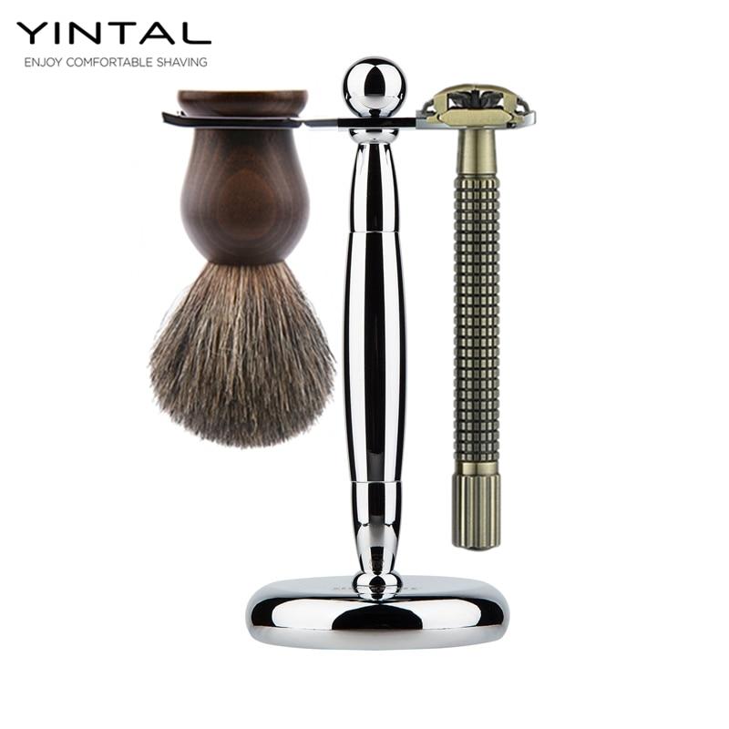 YINTAL Luxury Men Shaving Set Pure Badger Hair Beard Brush Double Edge Safety Blade Razor Stand Holder Shave Shaver Set merkur 45 bakelite safety razor travel set