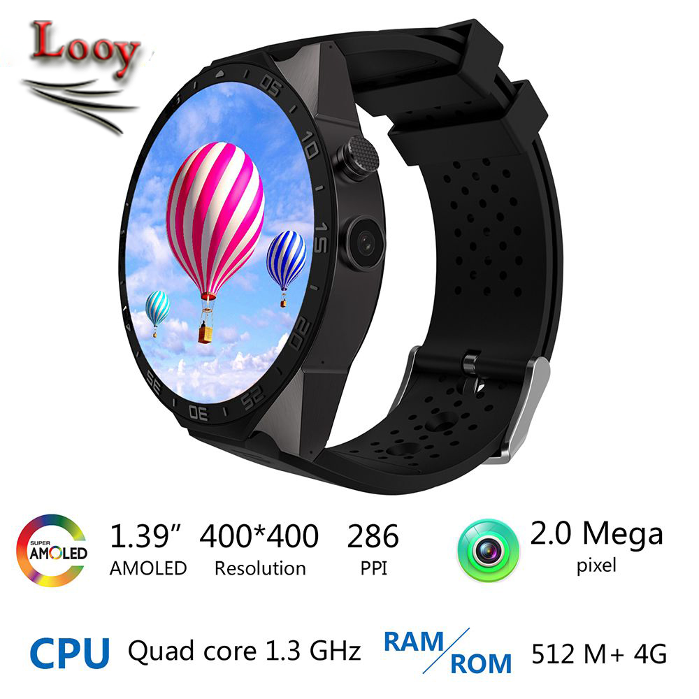 KW88 Android 5.1 Smart Watch Phone MTK6580 1.39 inch 400*400 Screen 2.0MP Camera Smartwatch for iphone 7 Plus Huawei Sony Xiaomi