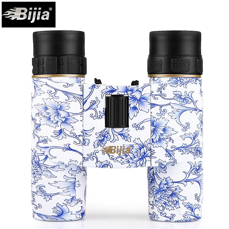 BIJIA 10x25 mini bolsillo plegable binocular prismáticos impermeables llenos de nitrógeno telescopio gafas de ópera para viajes de caza