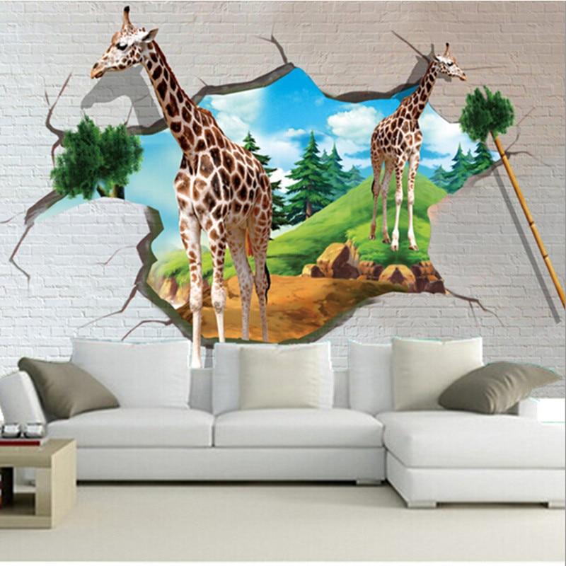 Custom 3D Large Murals3D Stereo Cartoon Giraffe Wallpaper Papel De Paredeliving Room Sofa TV Wall Bedroom Paper In Wallpapers From Home Improvement