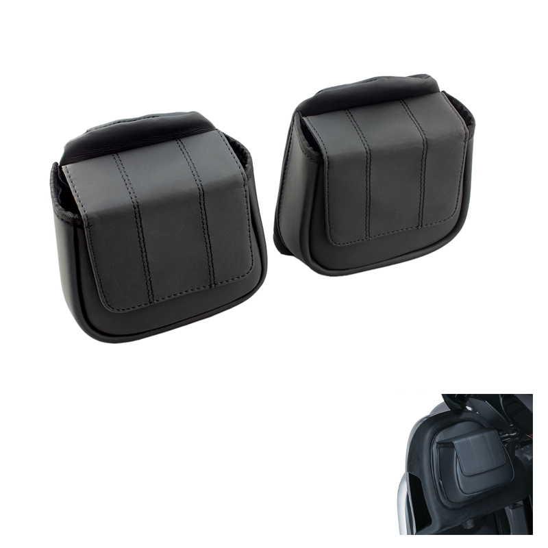 Motorcycle Leather Fairing Lower Door Pockets for Harley Ultra Limited CVO 14 Street Electra Road Glide Tri Glide цены