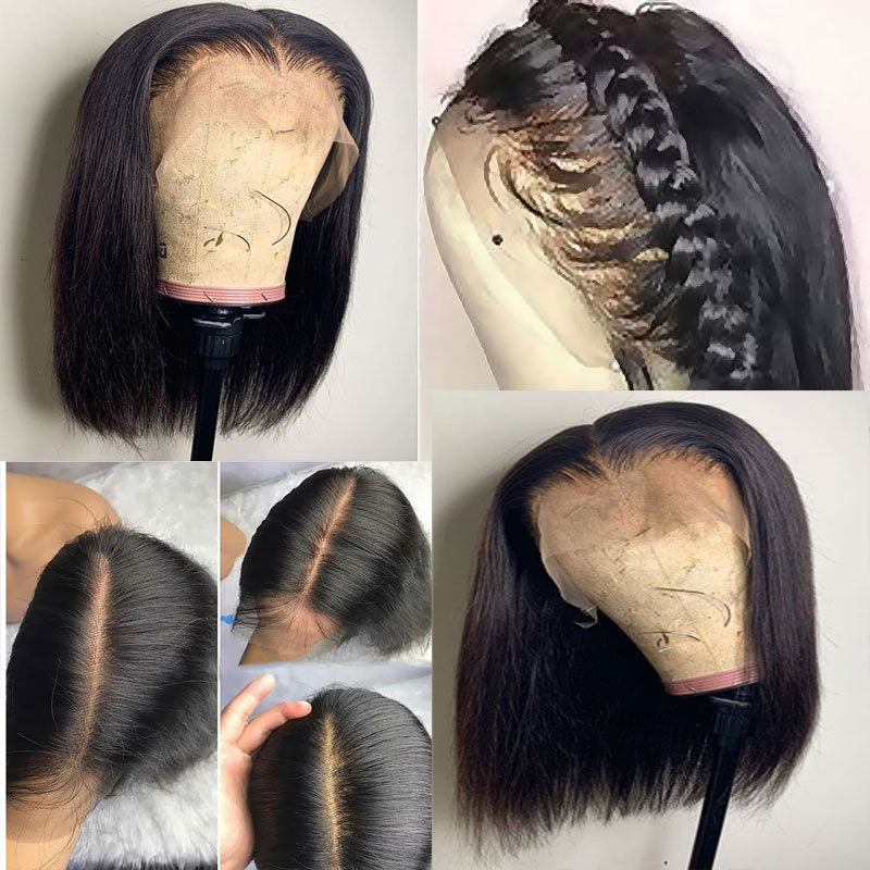 Middle Deep Part 13 6 Lace Front Human Hair Short Bob Wigs Straight Blunt Cut For