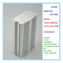 4pcs/lot heatsink electrical aluminum instrument enclosure for controller in silver color 33*61*100mm