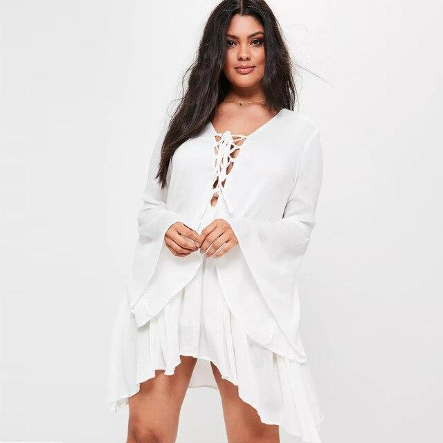Plus Size White Flare Sleeve Mini Dress For Women Simple Ruffle Hem