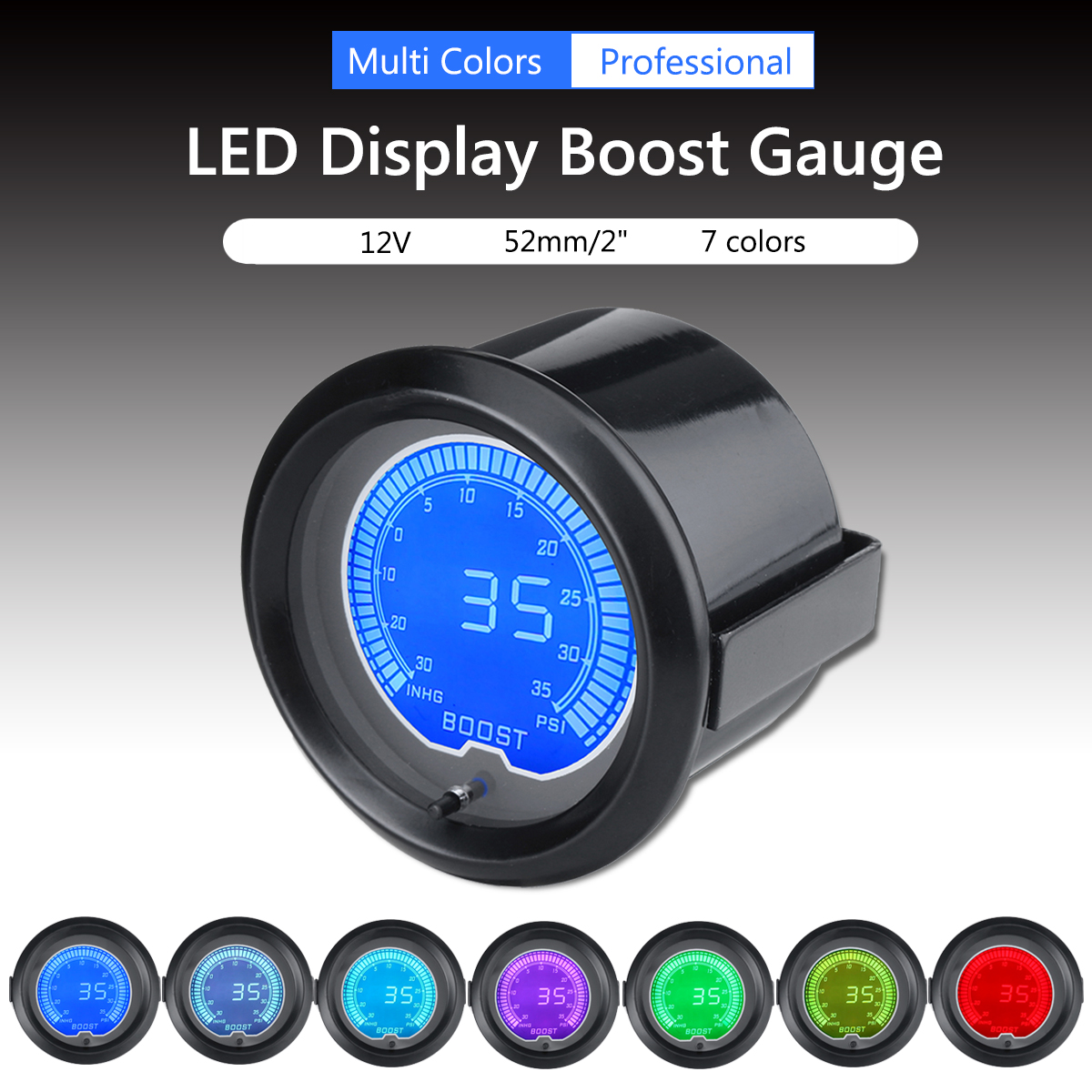 Modest Car Auto 12v 2inch 52mm 7 Colors Universal Psi Boost Gauge Digital Led Indicator Light With Sense
