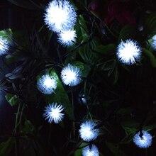 Меховой Шар Снежок Солнечная Фея Света Шнура СИД Лампы Открытый Украшения Сада Уличного Света Рождество Новый Год 20 светодиодов 4.8 М