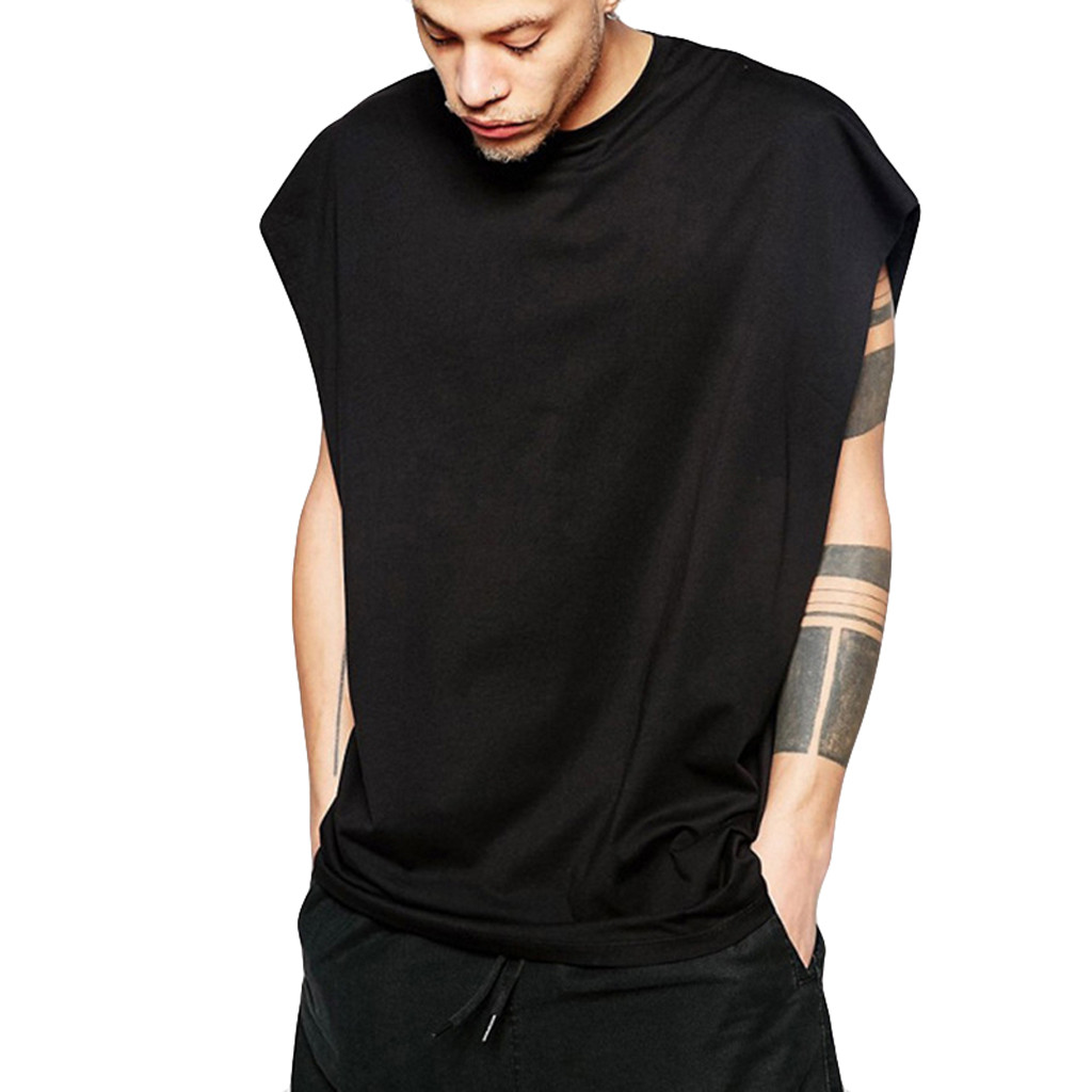 Men Bodybuilding Summer Casual Fashion Hip Hop Style Pure Color Solid Sports Polyester Tank Top Sleeveless Vest Round Neckc0506