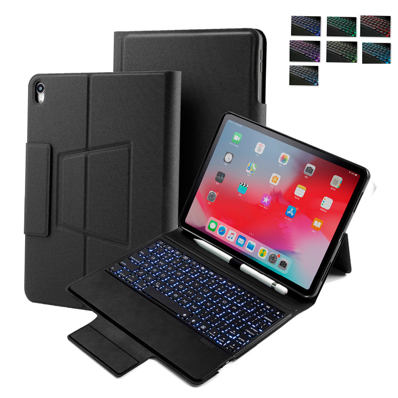 Leather Case For iPad Pro 12 9 Keyboard Cover With 7 Backlit Bluetooth Keyboard For iPad 12 9 Pro 2018 Tablet Case in Tablets e Books Case from Computer Office