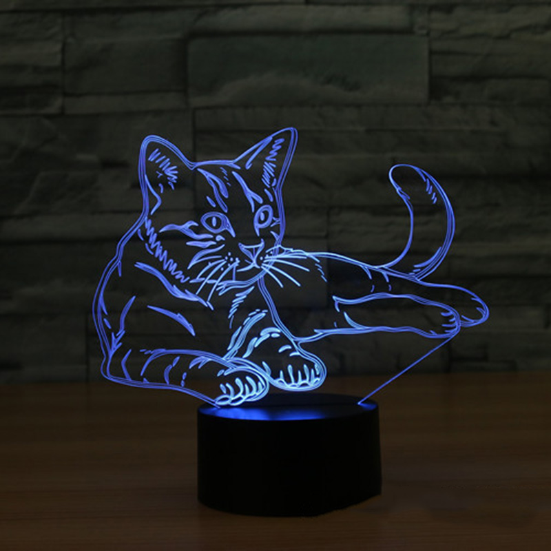 3D LED Night Light Alert Cat With 7 Colors Light For Home Decoration Lamp Amazing Visualization Illusion Gift