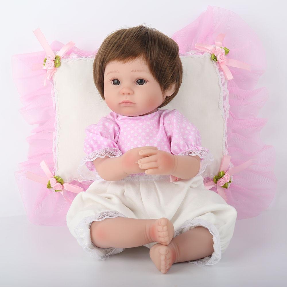 Silicone Reborn babies dolls with beautiful pillow bebe realista boneca Lifelike Soft Vinyl Body Baby Dolls npkdoll newest toys