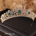 European and American big new micro flaw - dark golden crown rhinestone bridal headdress - European female crown