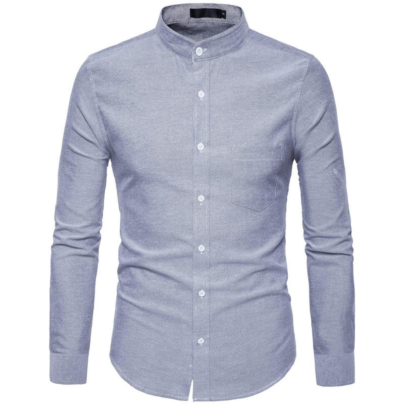 Purple Oxford Mens Dress Shirts 2018 Brand New Stand Collar Chemise Homme Casual Slim Fit Long Sleeve Camiseta Masculina 4XL