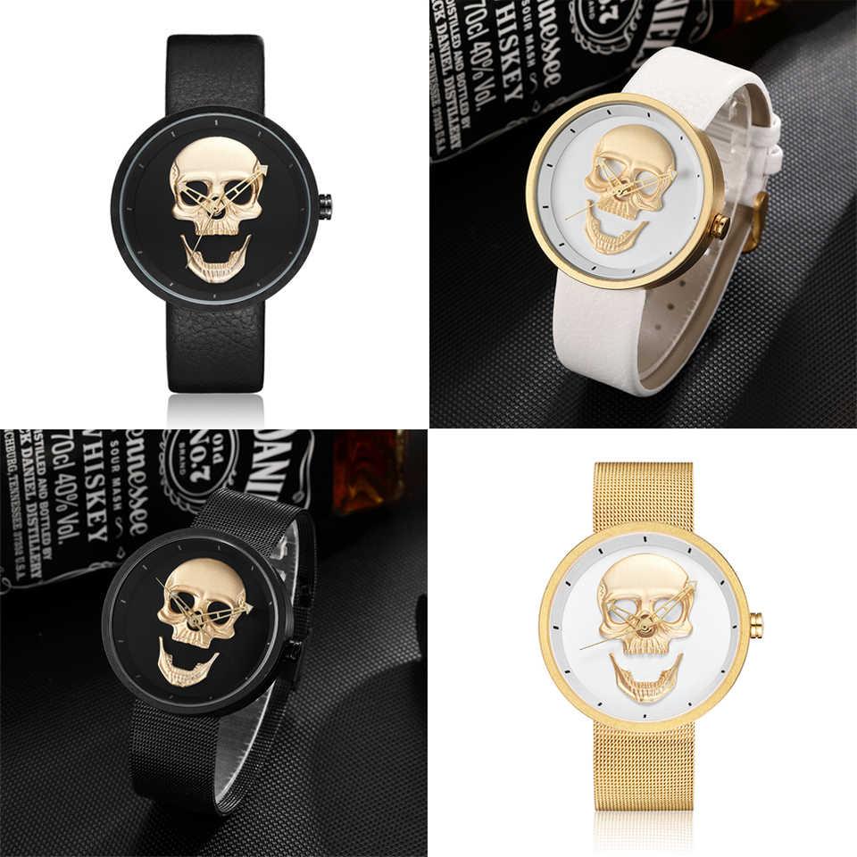 3D kafatası kafa İzle erkekler kadınlar paslanmaz çelik Unisex siyah beyaz altın Steampunk saatler bayanlar Reloj erkek heykel saati meksika