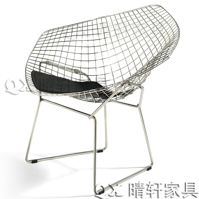 British Retro Diamond Wire Mesh Chair Leisure Plated Stainless Steel Coffee Metal Chairs Outdoor Negotiations