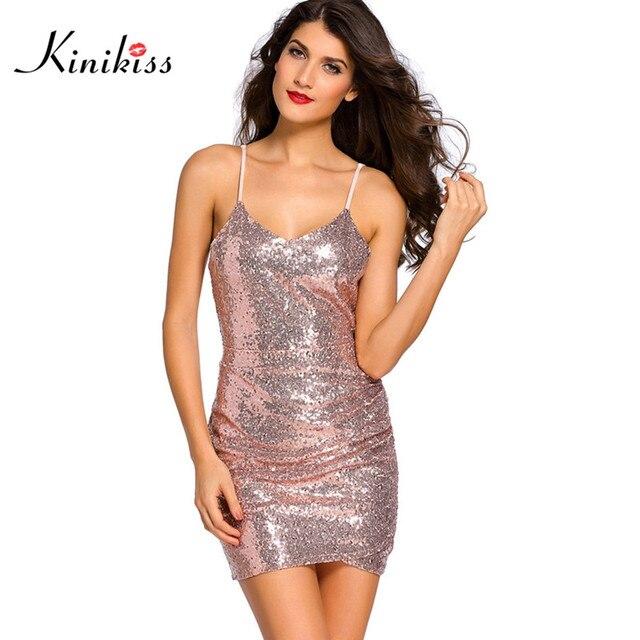e4e8413a421e Kinikiss summer women sexy club dress short blackless mini sequin dress  fashion open back bodycon party dress mini short