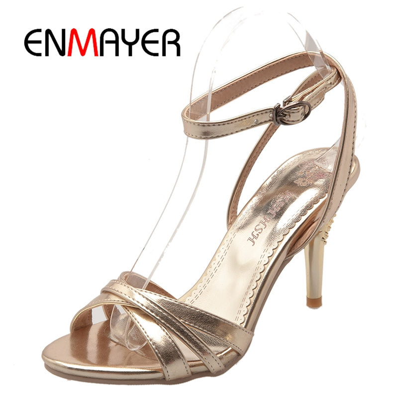 ENMAYER Classics Sexy Women Silver Gold  Wedding Shoes High Heels Shoes Lady Elegant Sandals Big Size 34-46 ZYL194