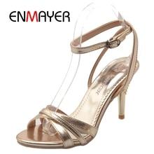 ENMAYER classiques femmes Sexy argent or chaussures de mariage talons hauts chaussures dame sandales élégantes grande taille 34 46 ZYL194