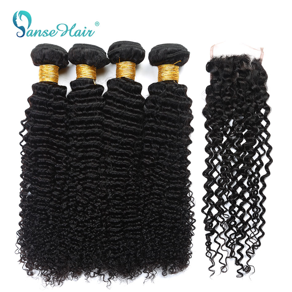 Panse Hair Brazilian Kinky Curly Hair Extension 100% Human Hair Weave Bundles Non Remy Hair 4 Bundles With One Lace Closure