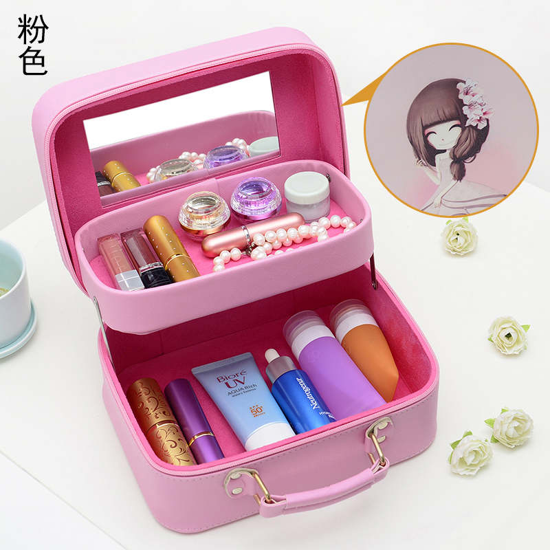 2017 Neceser Zipper Women Makeup bag Cute girl Cosmetic bag with Compartment beauty Case Make Up Organizer Toiletry bag Storage beauty roses black tropical flowers palms 3d print cosmetic bag women makeup organizer toiletry bag with zipper neceser trousse