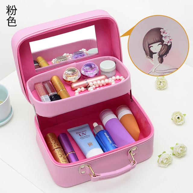 2017 Neceser Zipper Women Makeup bag Cute girl Cosmetic bag with Compartment beauty Case Make Up Organizer Toiletry bag Storage