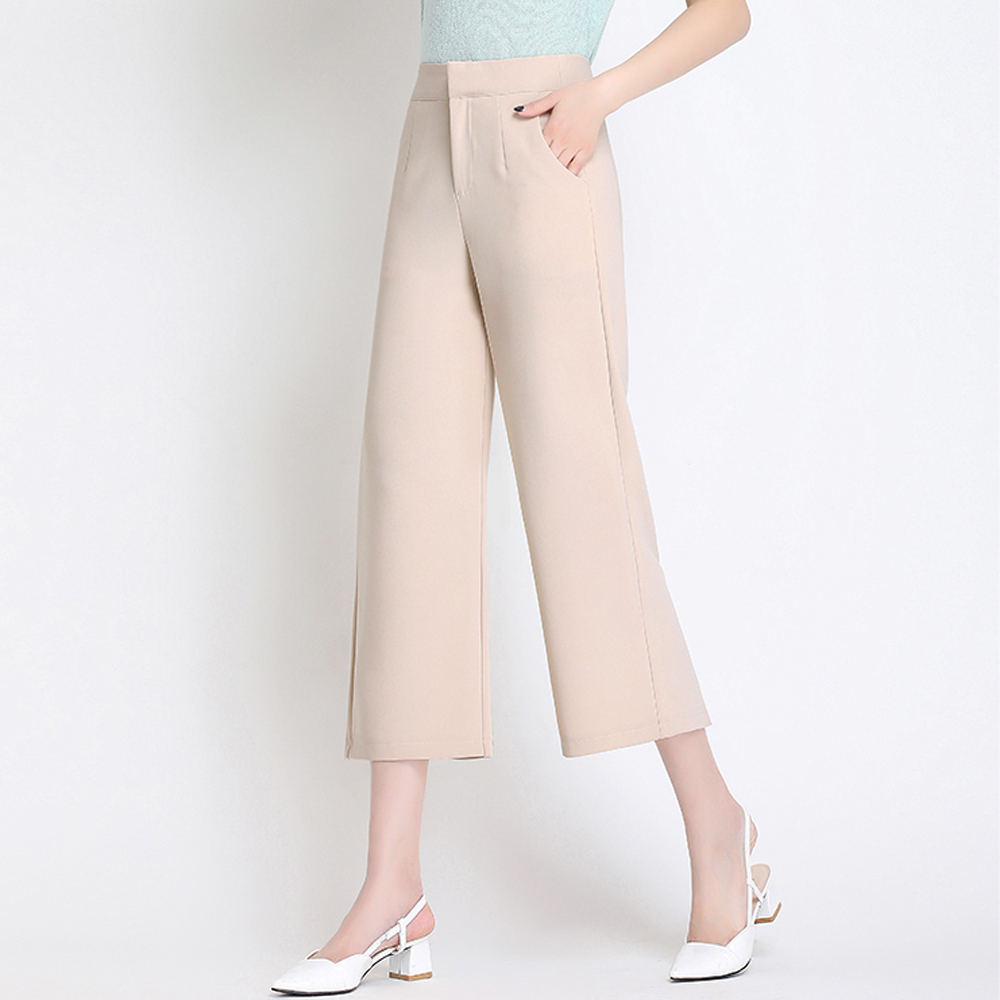 Women's Elegant Fashion   Wide     Leg     Pants   High Waist Straight Ankle-Length   Pants   Elastic Waist Loose Plus Size Casual Women   Pants