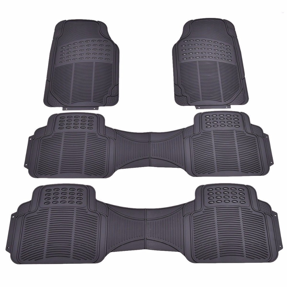 Rubber floor mats for lincoln mkx - 3pcs All Weather Van Car Rubber Floor Mat Heavy Duty Front Rear Liners Black China