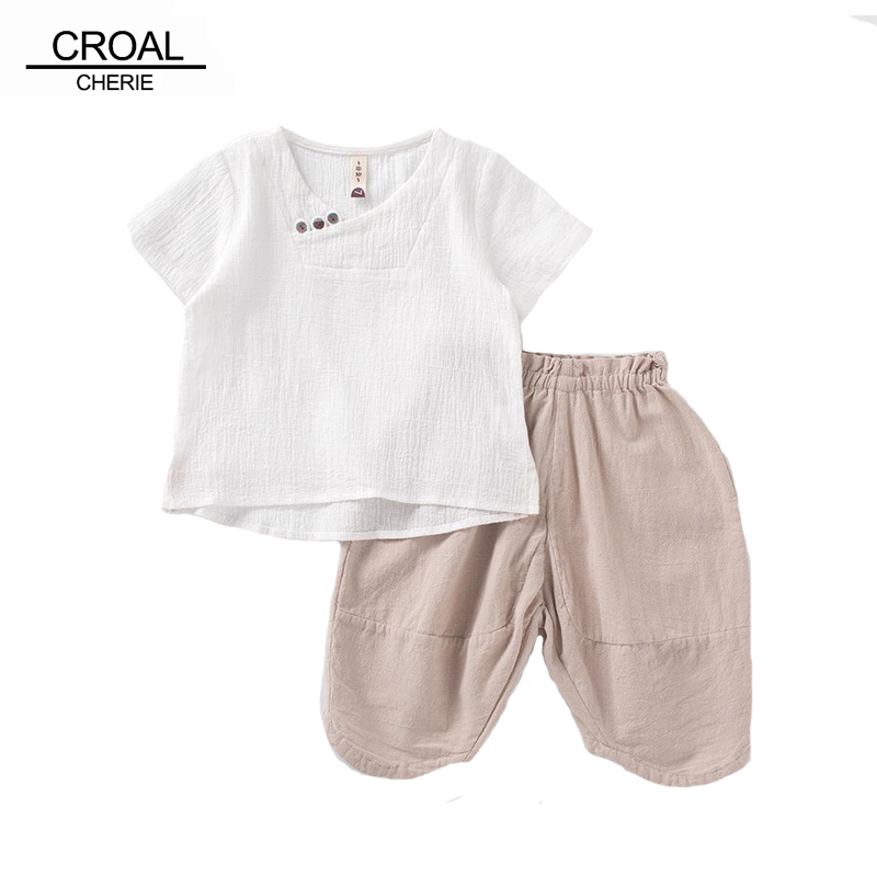CROAL CHERIE 2pcs Breathable Linen Kids Boy T Shirt + Shorts Summer Clothes Sets Teenage Baby Girls Clothing Children's Sets hobbywing platinum pro 50a v3 60a v4 brushless esc electronic speed controller for rc drone heli fpv multi rotor f17552 3