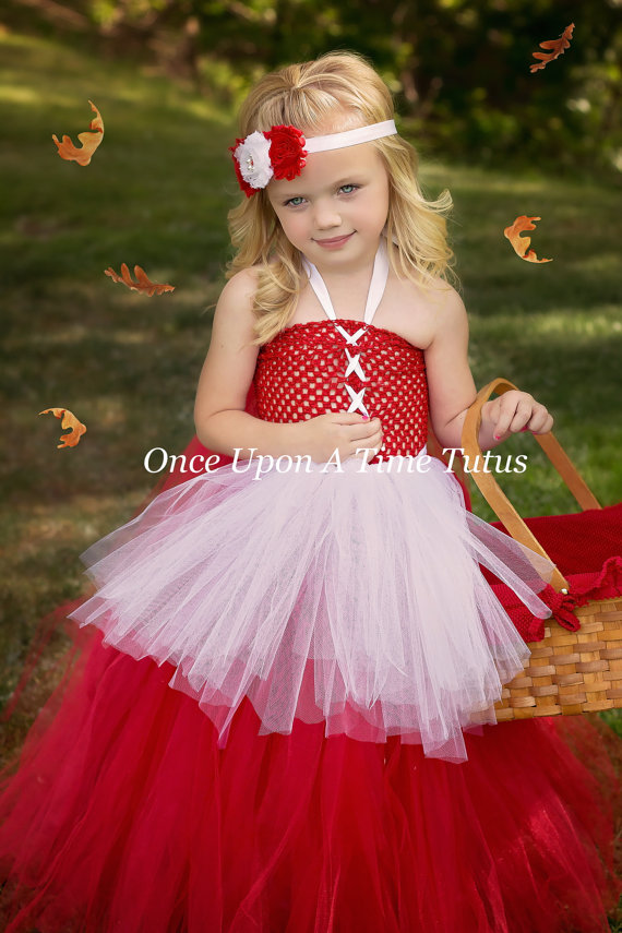 little red riding hood tutu dress red and white pageant gown halloween costume for baby girl - Pageant Girl Halloween Costume