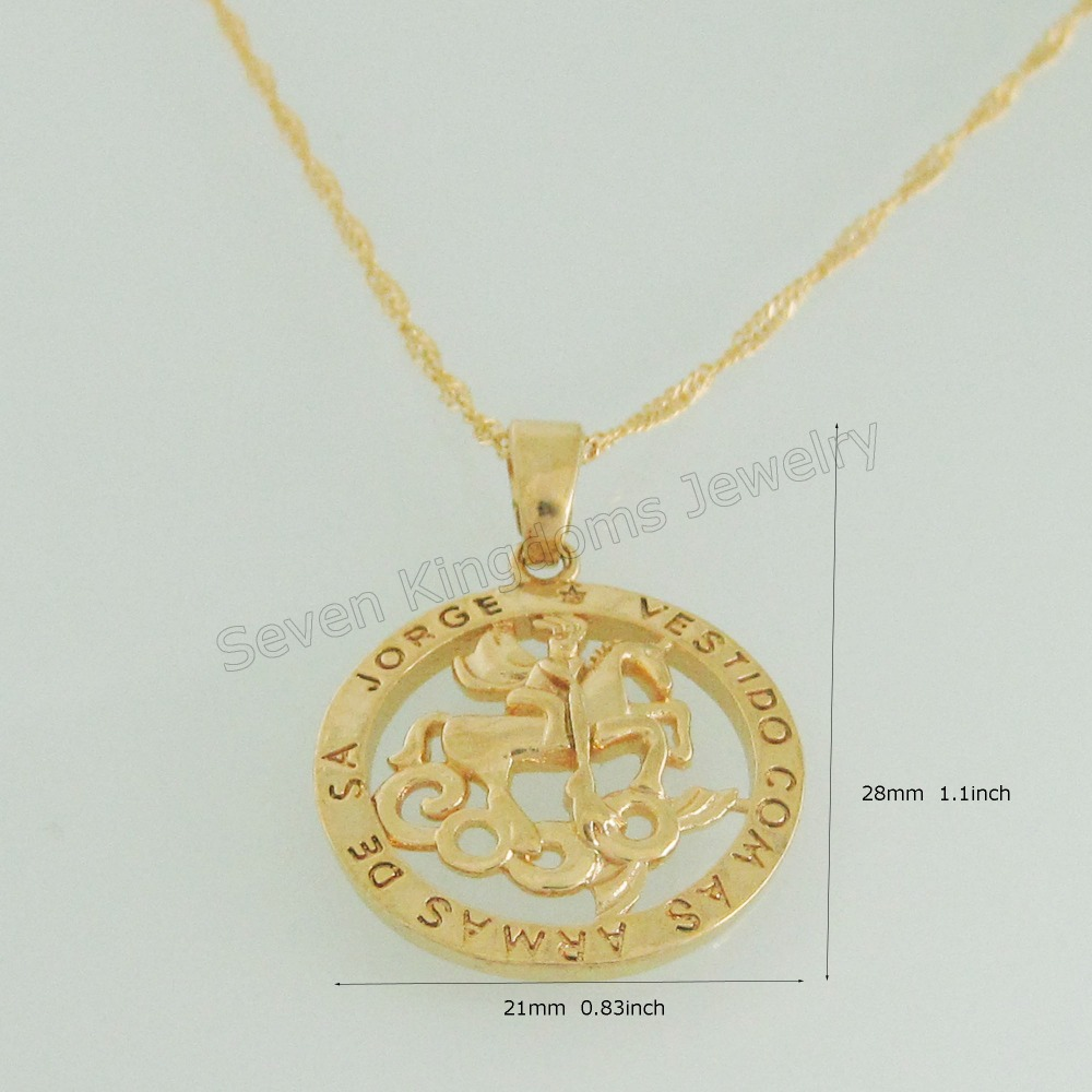 Min order 10 new yellow gold coated 18 necklaceknight killing min order 10 new yellow gold coated 18 necklaceknight killing dragon pendant with word jorge vestido hangs 28mm 11 in pendant necklaces from jewelry aloadofball Gallery