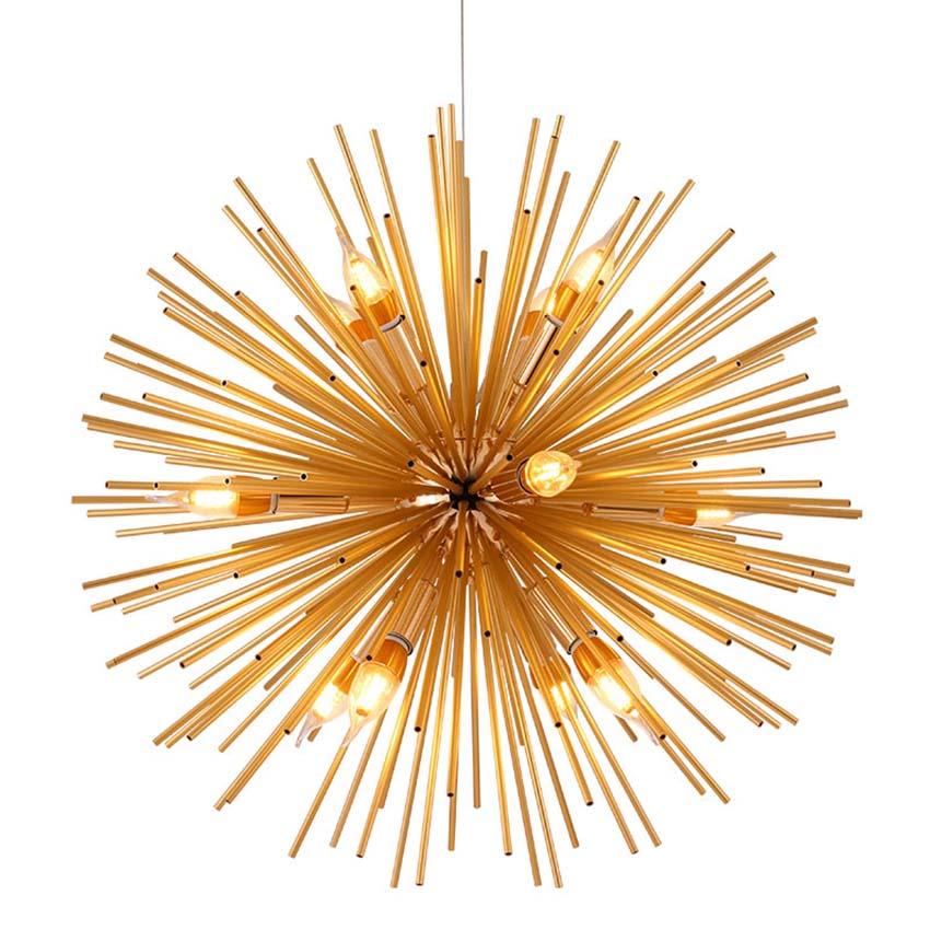Nordic Gold Modern Pendant Lights 9/12 Heads E14 Dandelion Ball Hanging Lamp Living Room Restaurant Cafe Suspension Luminaire