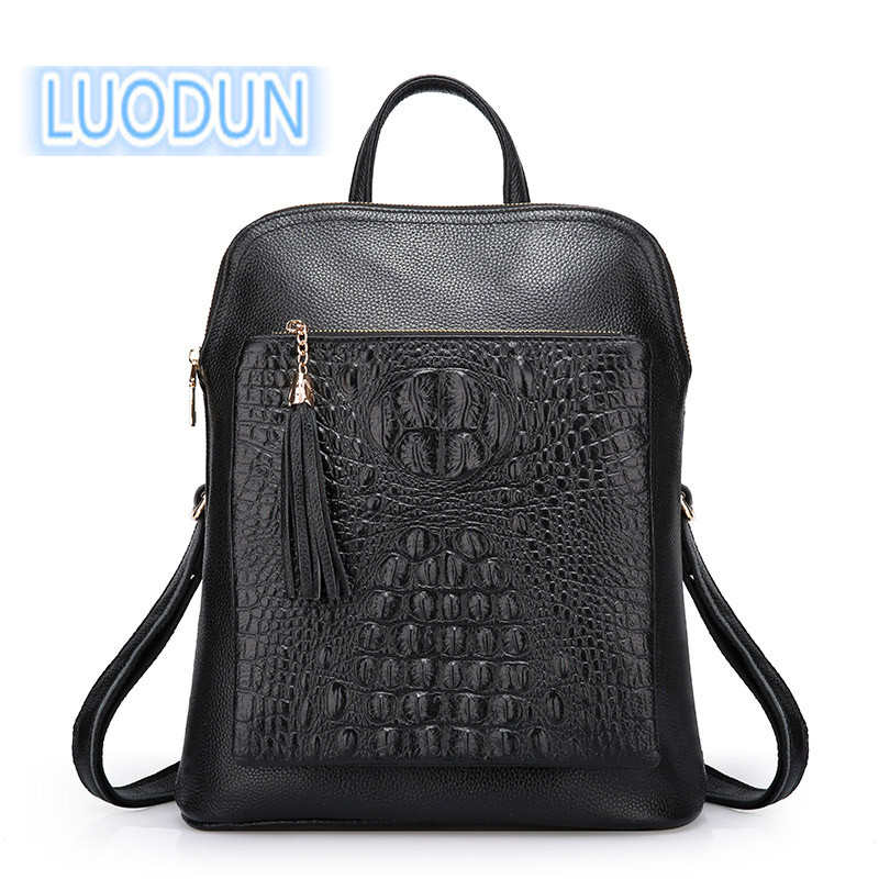 LUODUN 2018 first layer leather crocodile pattern shoulder bag female Genuine Leather multi-functional fashion ladies backpack luodun new genuine leather female bag the first layer of leather tassel shoulder bag british fashion backpack school bag