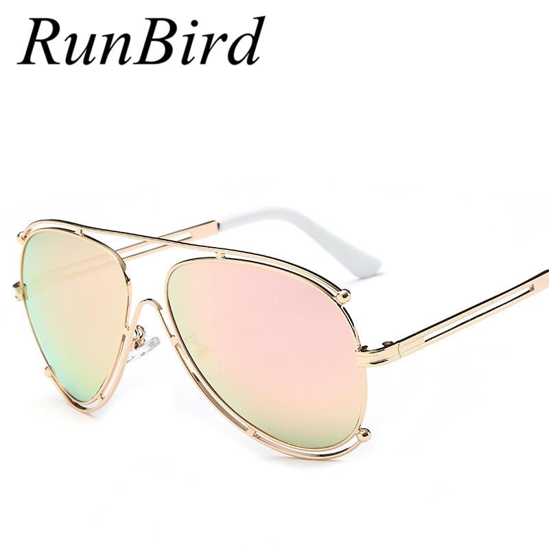 ᐂRunbird gafas de sol mujer rosa oro marco mens calado alambre ...