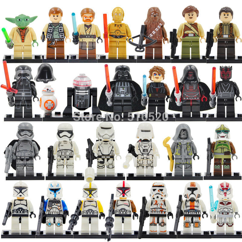 26pcs/lot Figure Set Stormtrooper Yoda Paploo Ahsoka Tano Obi-Wan Boba Fett Darth Vader Building Blocks Model Toys star wars figures jedi chewbacca han solo darth vader leia legoing jango fett obi wan models & building toys blocks for children