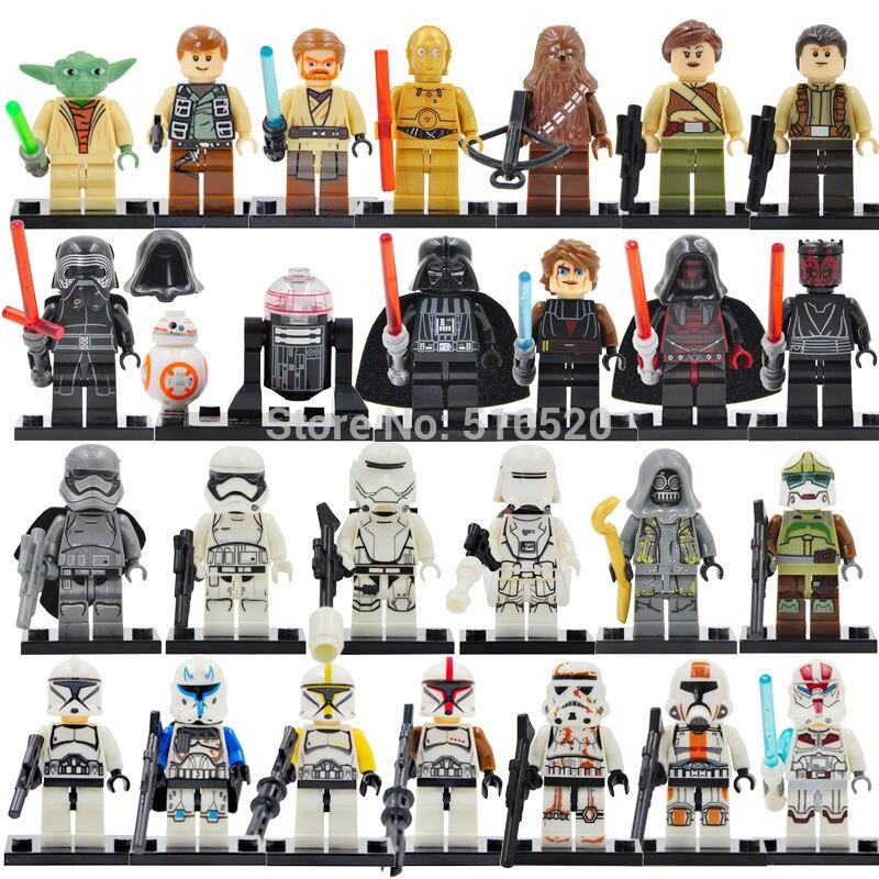 все цены на 26pcs/lot Star Wars Figure Set Stormtrooper Yoda Paploo Ahsoka Tano Obi-Wan Boba Fett Darth Vader Building Blocks Model Toys онлайн
