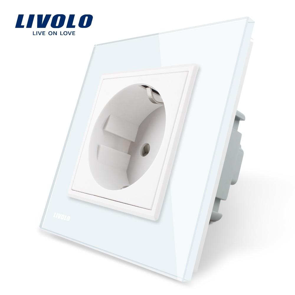 цена на Livolo EU Standard Power Socket, White Crystal Glass Panel, AC 110~250V 16A Wall Power Socket, VL-C7C1EU-11, Free Shipping