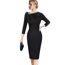 Vfemage, женское осеннее элегантное Плиссированное асимметричное платье с бантом, с 3/4 рукавом, облегающее, для работы, офиса, бизнеса, коктейльное, вечерние, облегающее платье, 18333