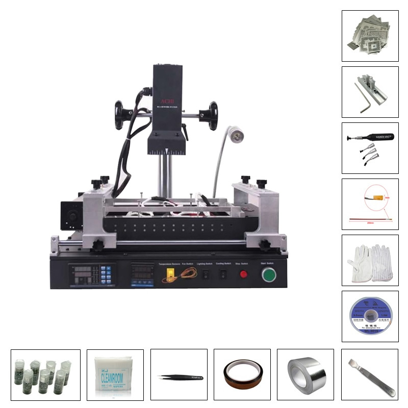 ACHI IR PRO SC infrared BGA Soldering Rework Station with 119pcs direct heating stencils bga reballing kits achi ir pro sc infrared bga soldering rework station for motherboard chip pcb refurbished repair machine