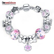 LZESHINE Original Charm Bracelet with Flower Enamel Beads Antique Silver Women Glass Bracelet & Bangle Fit Women Jewelry 0211