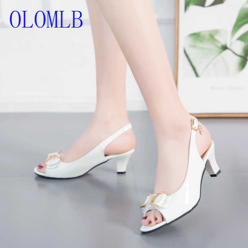 OLOMLB 2019 Women Pumps Satin Summer Buckle Slingback Shoes Handmade Open toe Women Square Heels Low Leather Women SandalsOLOMLB 2019 Women Pumps Satin Summer Buckle Slingback Shoes Handmade Open toe Women Square Heels Low Leather Women Sandals