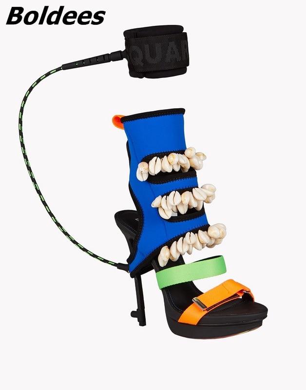 Mince Élégant Bottes Coquilles Cheville Roman Hauts Chaussures Sandales Nightculb Patchwork Conception Couleur Ouvert Bout Talons Femmes Boldees Décoration À gCxzIPgw