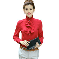 2015 Fall Korean Fashion Ruffles Blouses High Collar Long Sleeve Chiffon Blouse Solid Woman Blouse Blose