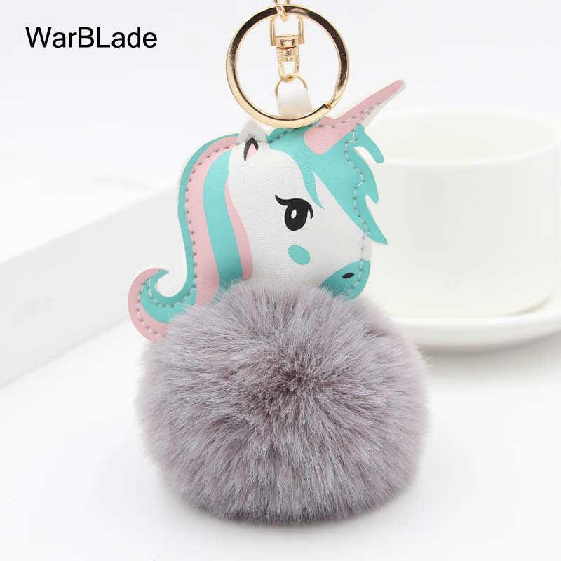 คุณภาพสูง Pom Unicorn พวงกุญแจลูกกระต่ายกระต่าย Horse พวงกุญแจ porte clef fluffy pompon กระเป๋ารถคีย์แหวน chaveiros สำหรับสตรี