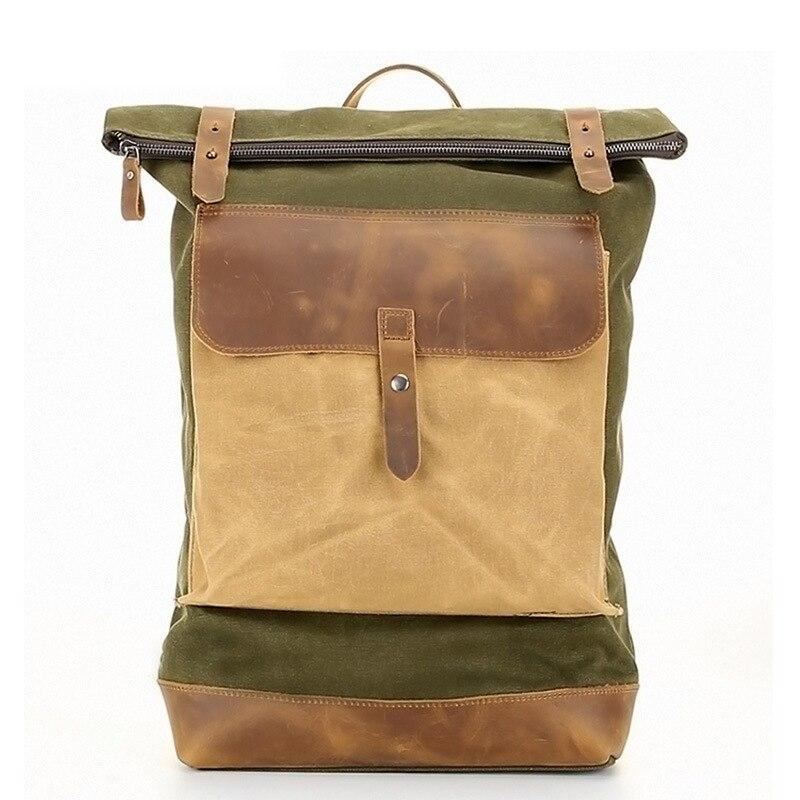 Men Canvas Backpack Waterproof Male Laptop Leather Rucksack