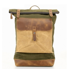 Men Canvas Backpack Waterproof Male Laptop Leather Rucksack