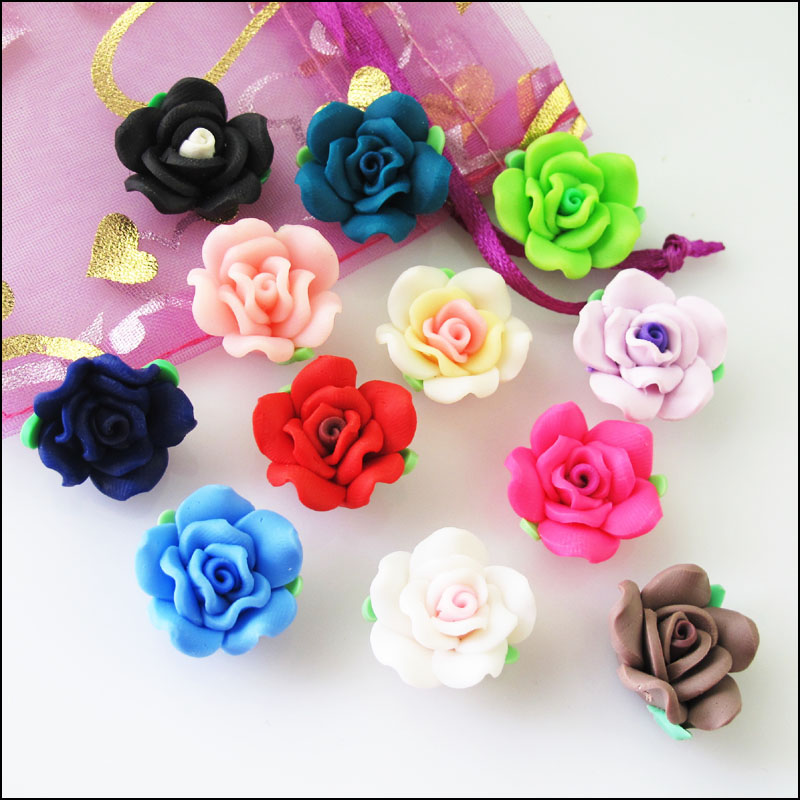 8 New Charms Handmade Polymer Fimo Clay Flower Spacer Beads Mixed 20mm