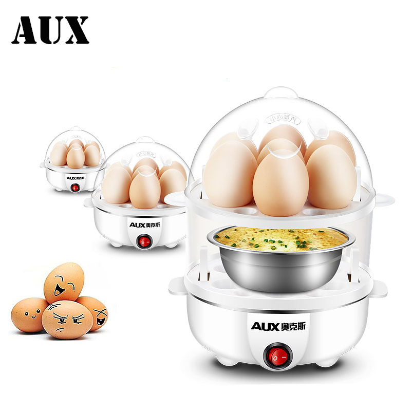 AUX Electric Auto-Off Generic Multi-function Electric Egg Cooker 7 Eggs Boiler Steamer Cooking Tools Kitchen Utensils Breakfast cukyi double layer multi function electric egg cooker boiler stainless steel automatic power off mini