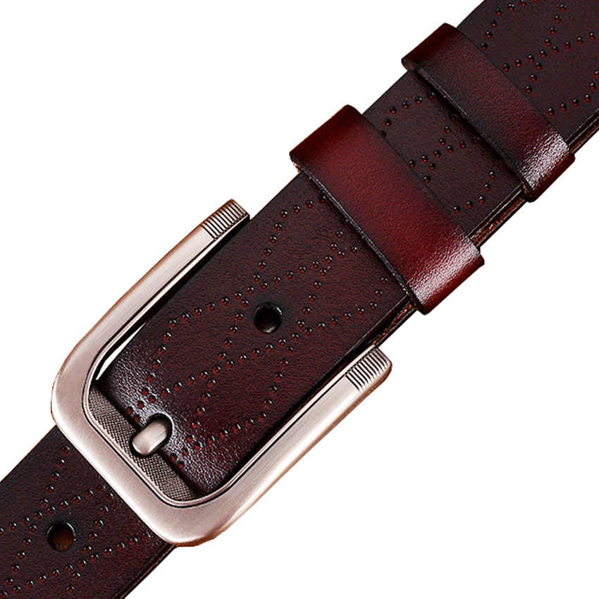 Fashion Geometris Asli Kulit Ikat Pinggang untuk Pria Mewah Pin Gesper Sabuk Pria Kualitas Lapisan Kedua Sapi Kulit Tali Pria Lebar 3.8 Cm