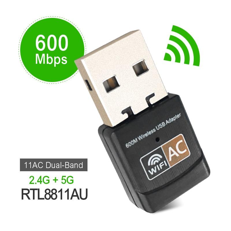 Adattatore Wireless 600 Mbps USB wifi AC600 2.4 GHz 5 GHz Antenna WiFi PC Mini Computer Ricevente a Scheda di Rete Dual fascia 802.11b/n/g/ac