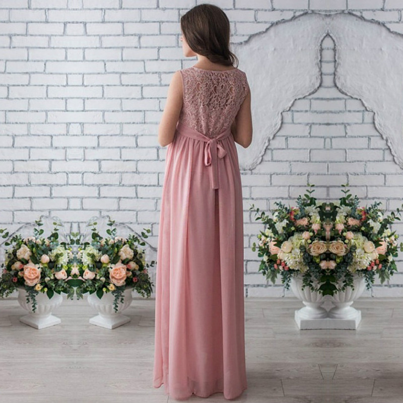 f959241b0c Lace Pregnant Long Dress Women Casual Long Sleeve O Neck Hollow Out Evening  Party Maxi Maternal pregnancy dresses DS19
