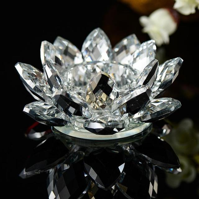 7 Colors Crystal Glass Lotus Flower Candle Holder Tea Light Holder Buddhist Candlestick holder decorative Party Wedding 5O1207 4